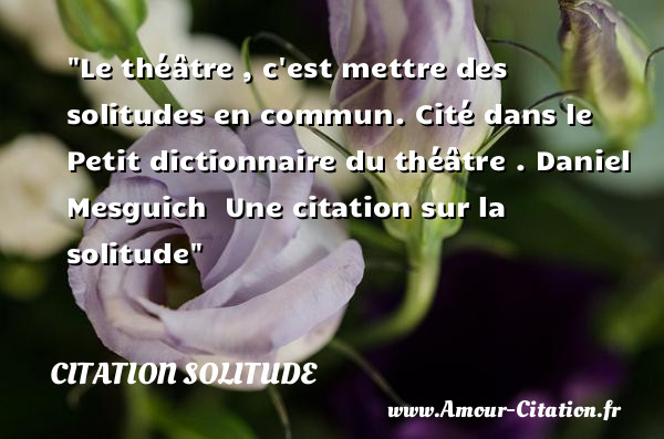 Le théâtre , c est mettre des solitudes en commun.  Cité dans le Petit dictionnaire du théâtre . Daniel Mesguich    Une  citation  sur la solitude CITATION SOLITUDE