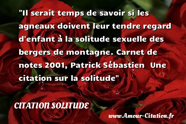 Il serait temps de savoir si les agneaux doivent leur tendre regard d enfant à la solitude sexuelle des bergers de montagne.  Carnet de notes 2001, Patrick Sébastien   Une  citation  sur la solitude CITATION SOLITUDE